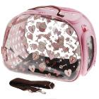 Сумка-переноска Ibiyaya для собак и кошек прозрачная/розовая дизайн сердечки