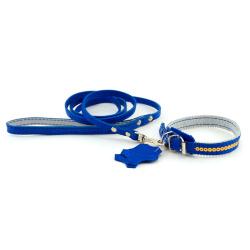 Комплект: ошейник и поводок 331013 синий
