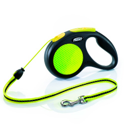 Рулетка Flexi Neon Safety Plus M, трос, 5 м 20 кг